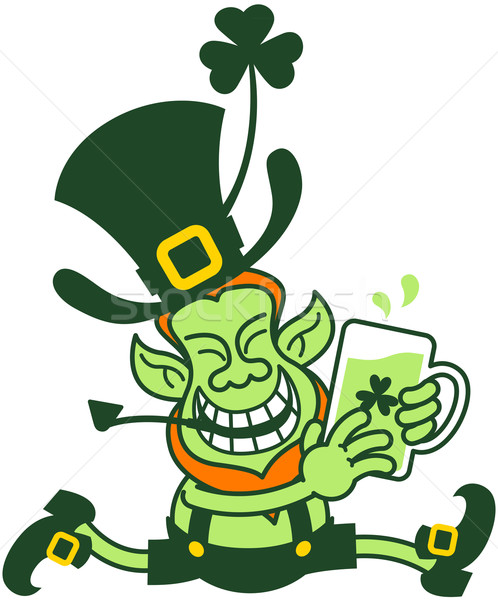 Green Leprechaun Running while Holding a Glass of Beer Stock photo © zooco