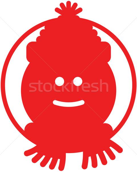 ストックフォト: クリスマス · 雪だるま · アバター · 赤 · 笑みを浮かべて · 着用