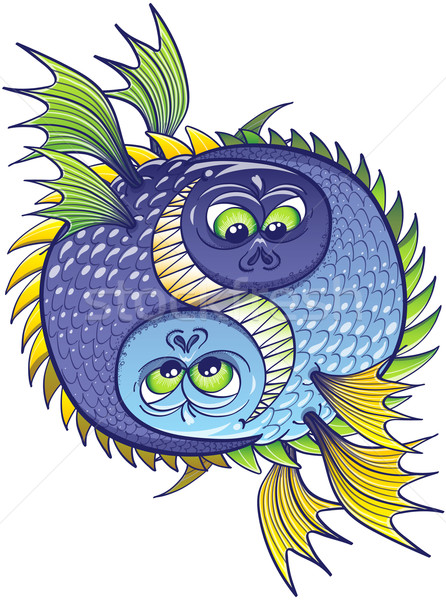 Yin yang composed of two aggressive and monstrous fishes Stock photo © zooco