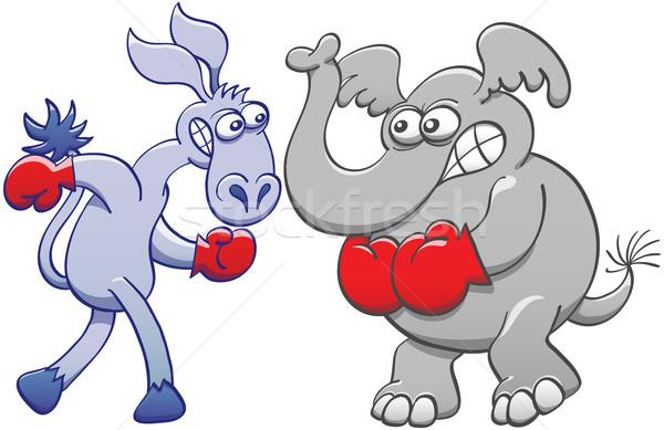 Elephant and donkey preparing for boxing Stock photo © zooco