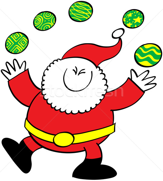 Cool kerstman jongleren christmas cute glimlachend Stockfoto © zooco