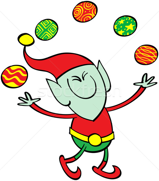 Elf jongleren kerstmis cute christmas Stockfoto © zooco