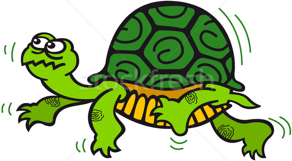 Green turtle walking shyly Stock photo © zooco