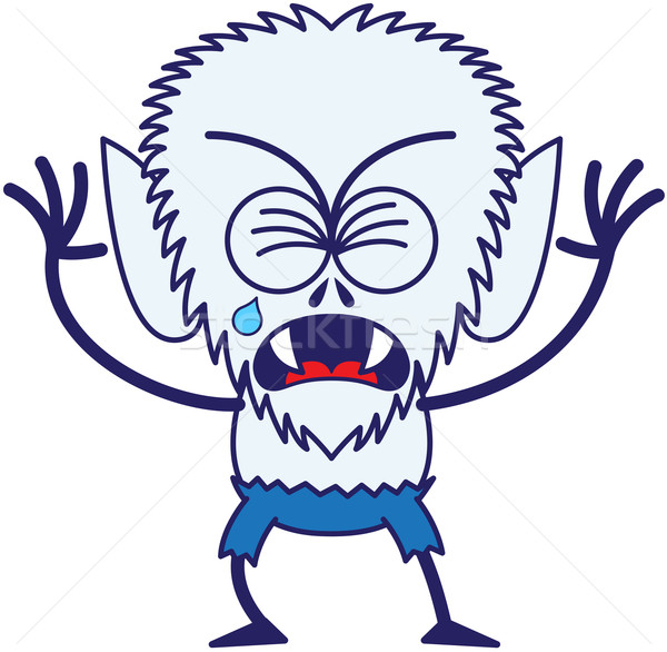 Cute Halloween werewolf crying and sobbing Stock photo © zooco