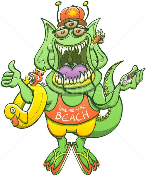 Legal monstro polegar verde orelhas Foto stock © zooco