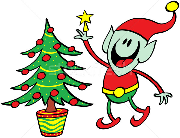 Green elf decorating a Christmas tree Stock photo © zooco