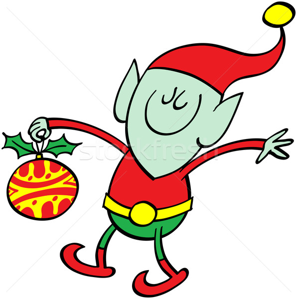 Green elf bringing a Xmas bauble Stock photo © zooco