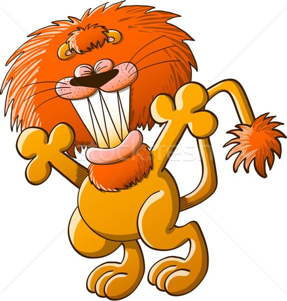 Bom leão saudação legal Foto stock © zooco