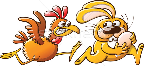 Easter Bunny Stealing an Egg from a Furious Hen Stock photo © zooco