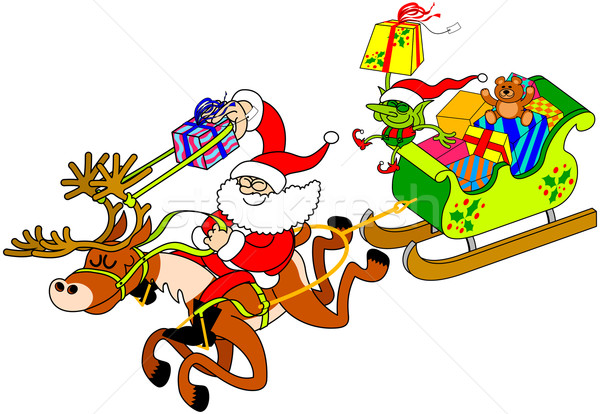 Santa Claus delivering gifts with a slingshot Stock photo © zooco