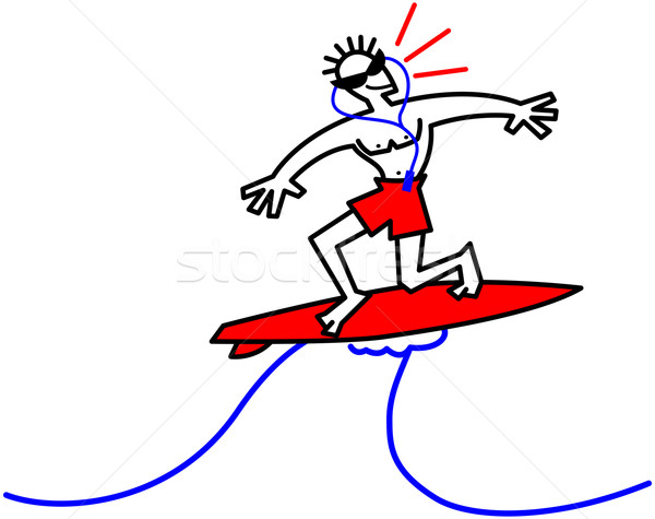 Surfer riding a big wave and showing he is a little worried Stock photo © zooco