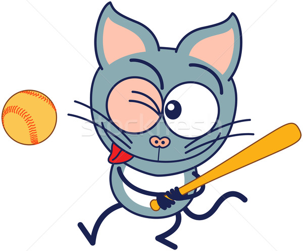 Peu chat gris jouer baseball cute Photo stock © zooco