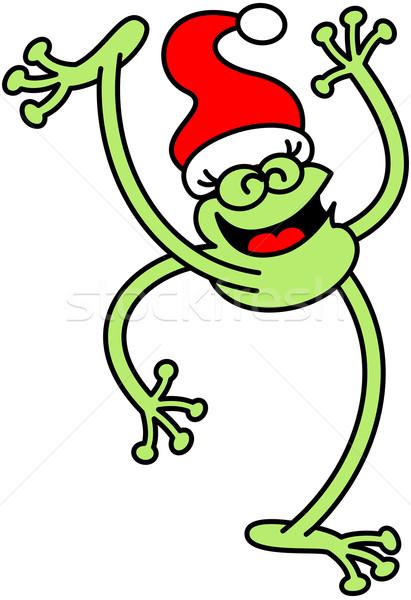 Yeşil kurbağa Noel neşeli büyük Stok fotoğraf © zooco