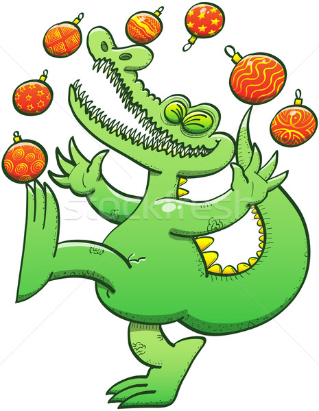 Green crocodile having fun while juggling Christmas baubles Stock photo © zooco