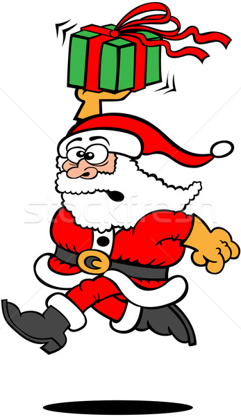 Hurried Santa Claus delivering a Christmas gift by running fast Stock photo © zooco