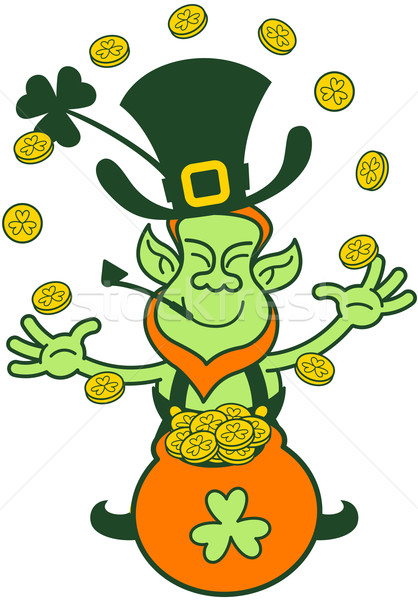 Green Leprechaun Juggling with Gold Coins Stock photo © zooco