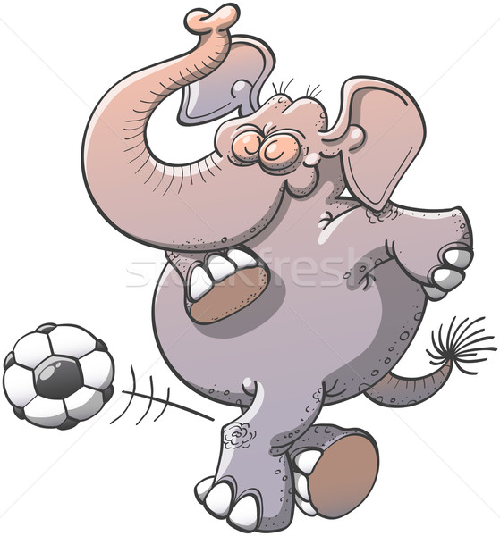 Cool elephant executing a stunt with a soccer ball  Stock photo © zooco