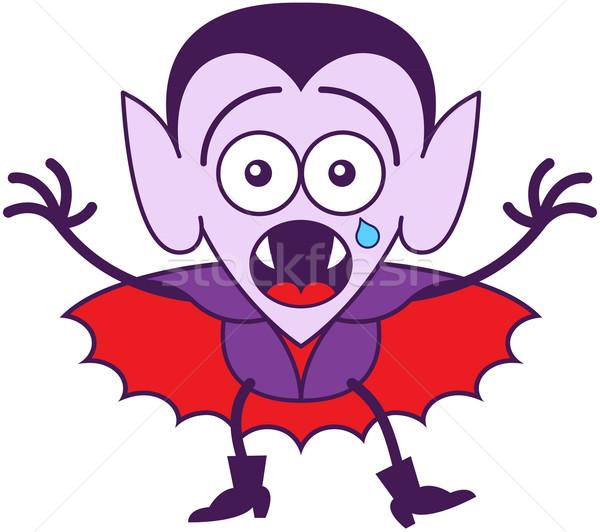 Halloween drakula érzés ijedt aranyos vámpír Stock fotó © zooco