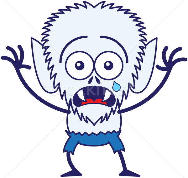 Cute Halloween werewolf crying and feeling scared Stock photo © zooco