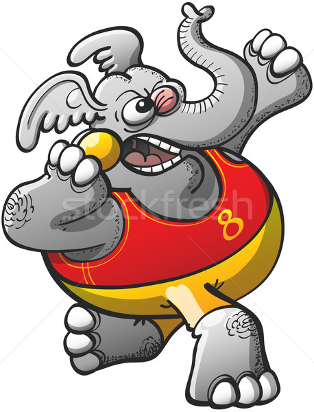 Athletic Elephant Performing a Shot Put Stock photo © zooco