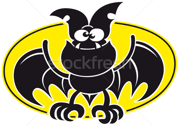 Cool bat opening its wings and posing with a yellow oval as background Stock photo © zooco