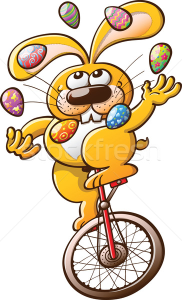 Bunny Juggling Easter Eggs Stock photo © zooco