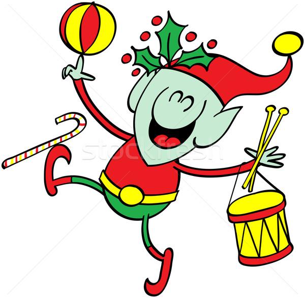 Groene elf spelen christmas speelgoed cute Stockfoto © zooco