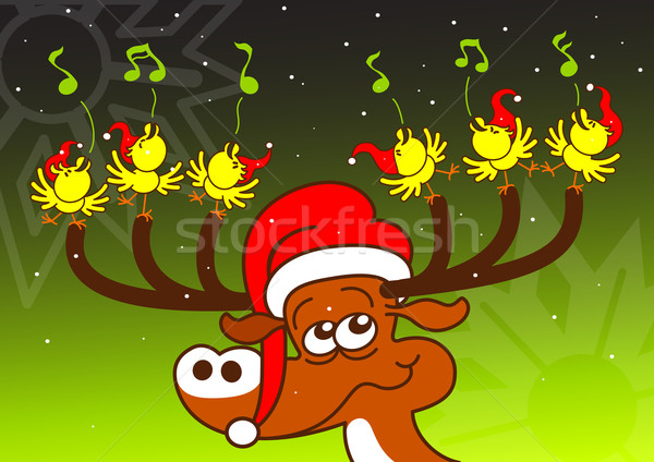Singing chickens and deer performing a spectacle for Christmas Stock photo © zooco