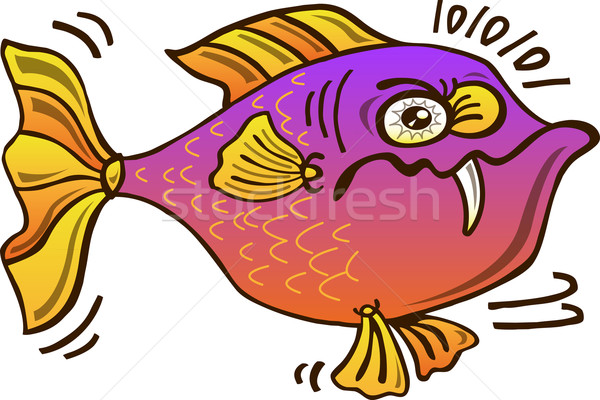Upset chubby fish looking mistrustful Stock photo © zooco