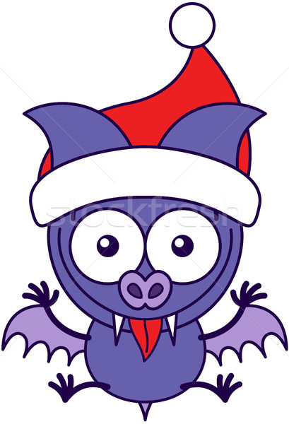 Purple bat wearing Santa hat and celebrating Christmas Stock photo © zooco