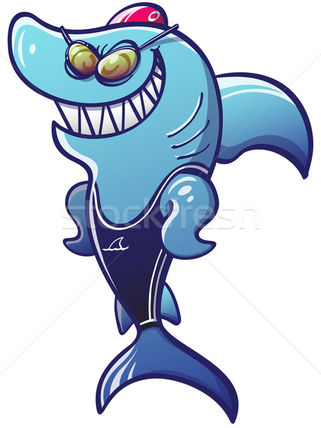 Brave Shark Wearing Swimming Clothes Stock photo © zooco
