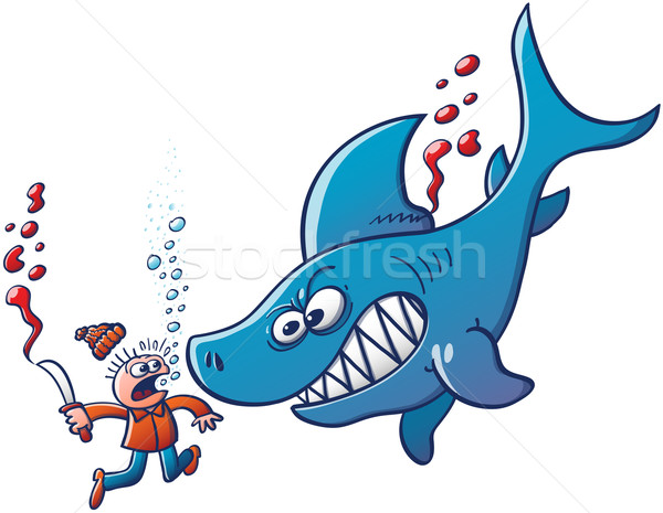 Angry shark confronting a finner Stock photo © zooco