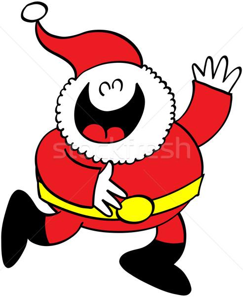 Kerstman lachend groet cute arm leuk Stockfoto © zooco
