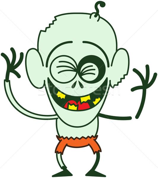 面白い ハロウィン ゾンビ 笑い はげ 目 ストックフォト © zooco
