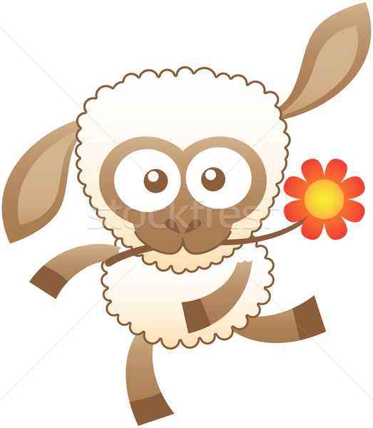 Friendly baby sheep dancing animatedly while holding a flower with its mouth Stock photo © zooco