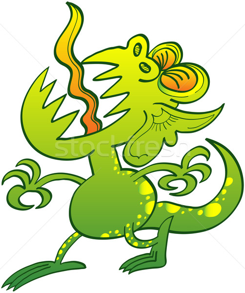 Odd green monster groaning painfully Stock photo © zooco
