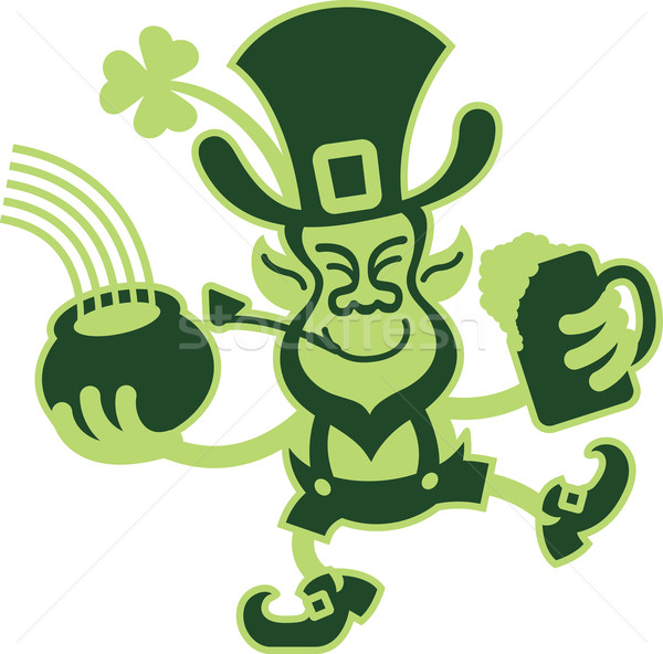 Saint Patrick's Day Leprechaun Smiling and Dancing Stock photo © zooco