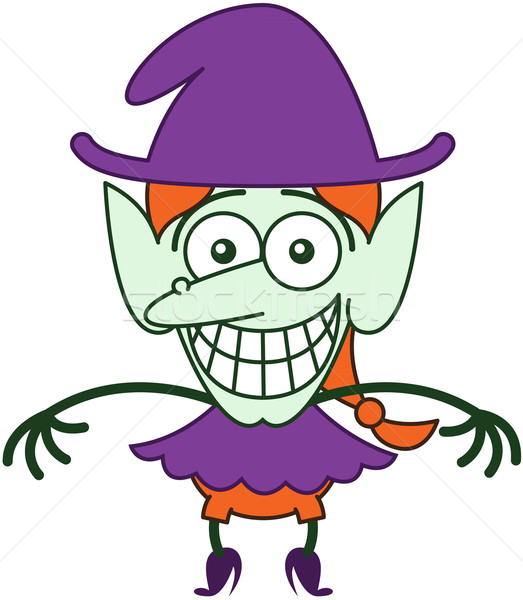 Nice Halloween witch grinning while feeling embarrassed Stock photo © zooco