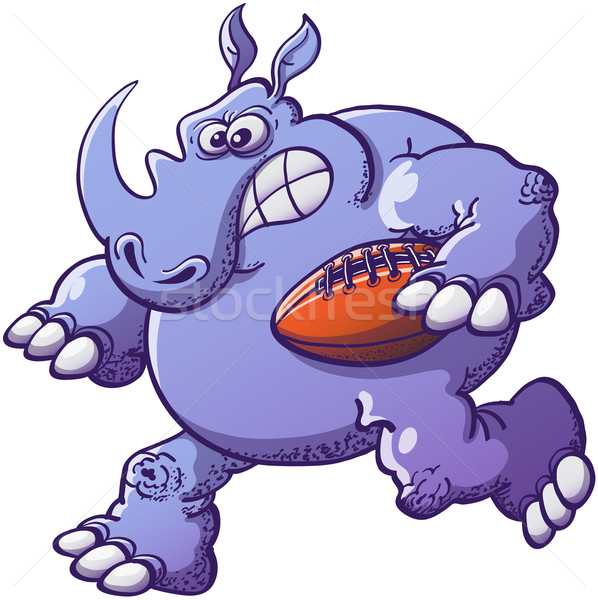 Brave Rhinoceros Playing Rugby Stock photo © zooco