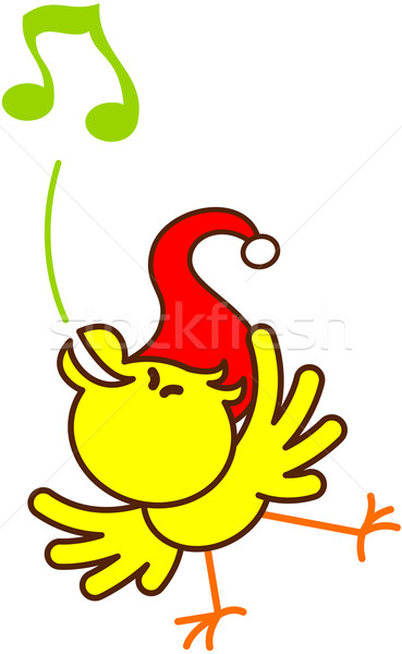 Adorable Christmas bird singing with a lot of energy Stock photo © zooco