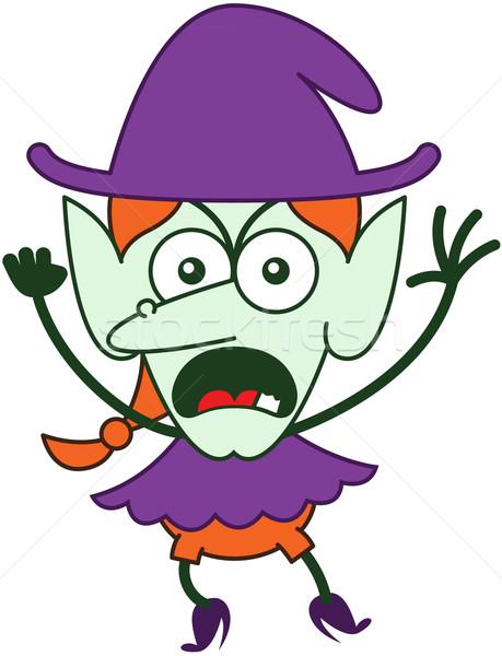 Mérges halloween boszorkány érzés dühös lila Stock fotó © zooco