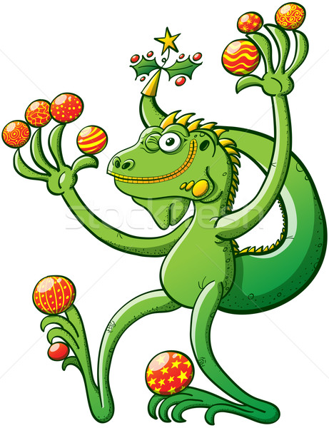 Green iguana winking while holding a lot of Christmas balls Stock photo © zooco
