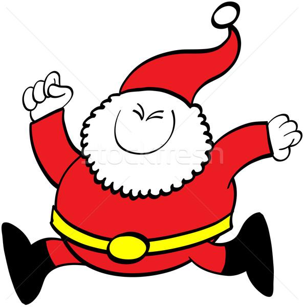 Karácsony mikulás fut aranyos mosolyog szemek Stock fotó © zooco