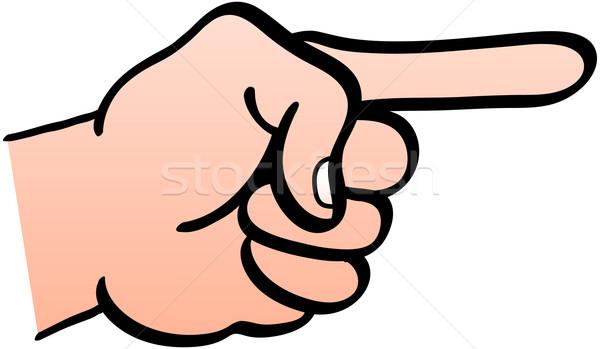 Hand tonen wijzend wijsvinger vuist teken Stockfoto © zooco