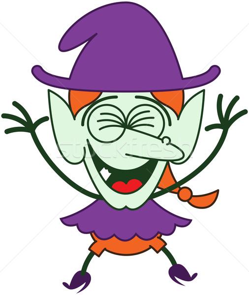 Legal halloween bruxa risonho engraçado roxo Foto stock © zooco