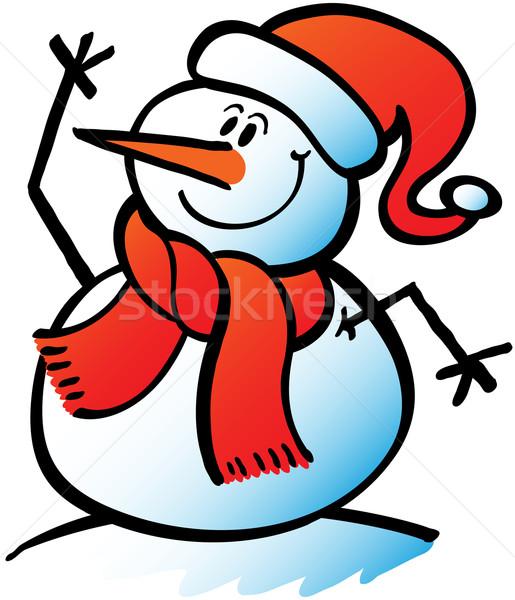 Karácsony hóember integet hello szép visel Stock fotó © zooco