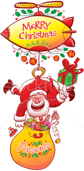 Santa Claus delivering gifts while hanging from a zeppelin Stock photo © zooco