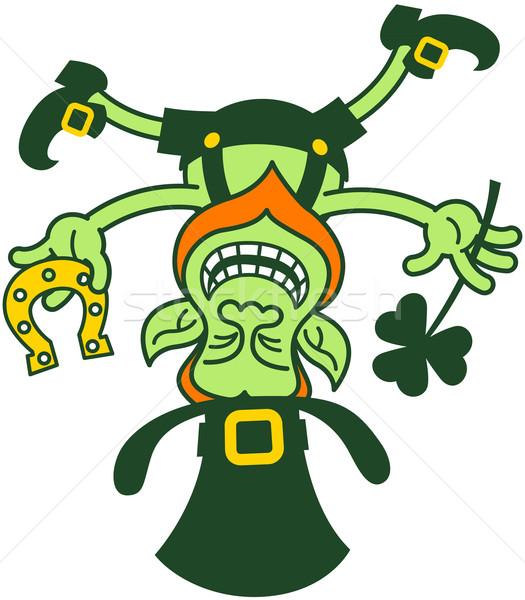 Verde sorridente equilíbrio de cabeça para baixo seis Foto stock © zooco