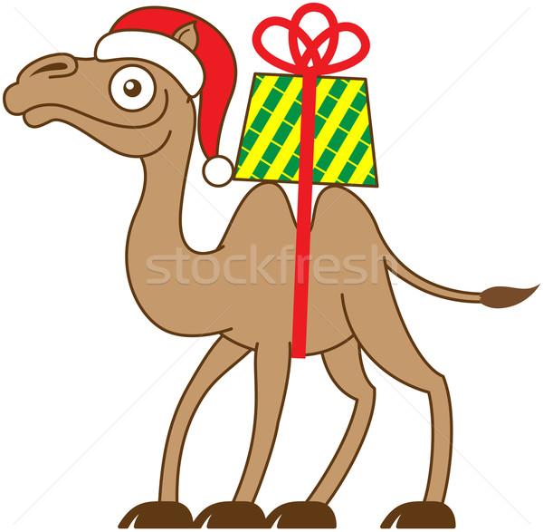 Karácsony teve hordoz ajándék hát barna Stock fotó © zooco