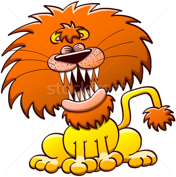 Funny lion roaring Stock photo © zooco